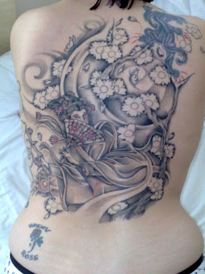 Back Piece Geisha Tattoo Design. Geisha women train from an early age to be