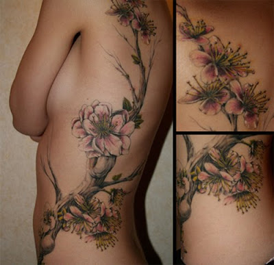 Label: Flower Tattoo Design in Side Girl
