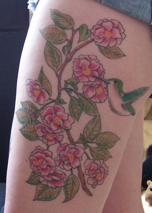 Cherry Blossom Tattoo And Hummingbird Tattoo