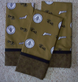 three pillowcases made from WMU fabric