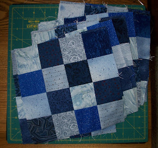 blue 16 patch blocks for Alycia's quilts of valor