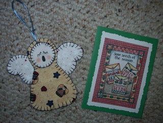 angel ornament and Christmas card