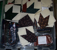 storage container full of mystery quilt segments