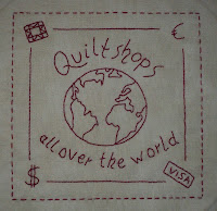 Redwork stitchery with saying quilt shops around the world