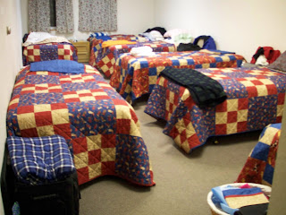 Quilts made by us for the dorm room beds at The Springs