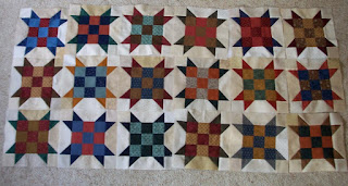 18 Sister's Choice quilt blocks for Grandma and Grandpa's Christmas quilt