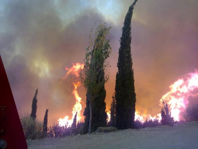 Καίει δασική έκταση η πυρκαγιά στις Βρύσες