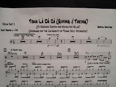 """Um pedacinho da partitura da composição """"Giving and Taking"""","""