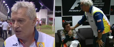 Pat Symonds before the race (left) and Flavio Brietore with Fernando Alonso after it (right) (F1 Renault CrashGate)