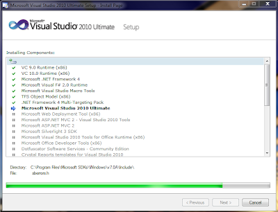visual studio installation screen