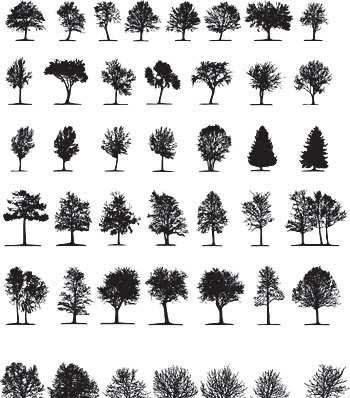 Vectorial de siluetas de árboles gratis