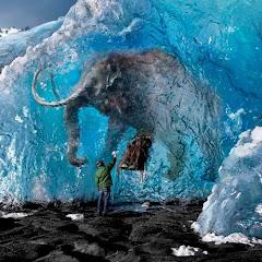 Fóssil de um mamute no gelo