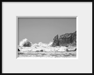 framed black and white photograph taken at Second Beach in Olympic National Park of the  breakers coming in and crashing against the rocky shoreline