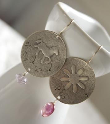 Untamed Earrings by jaunebleu- Sterling Silver, Pink Tourmaline, Ametrine