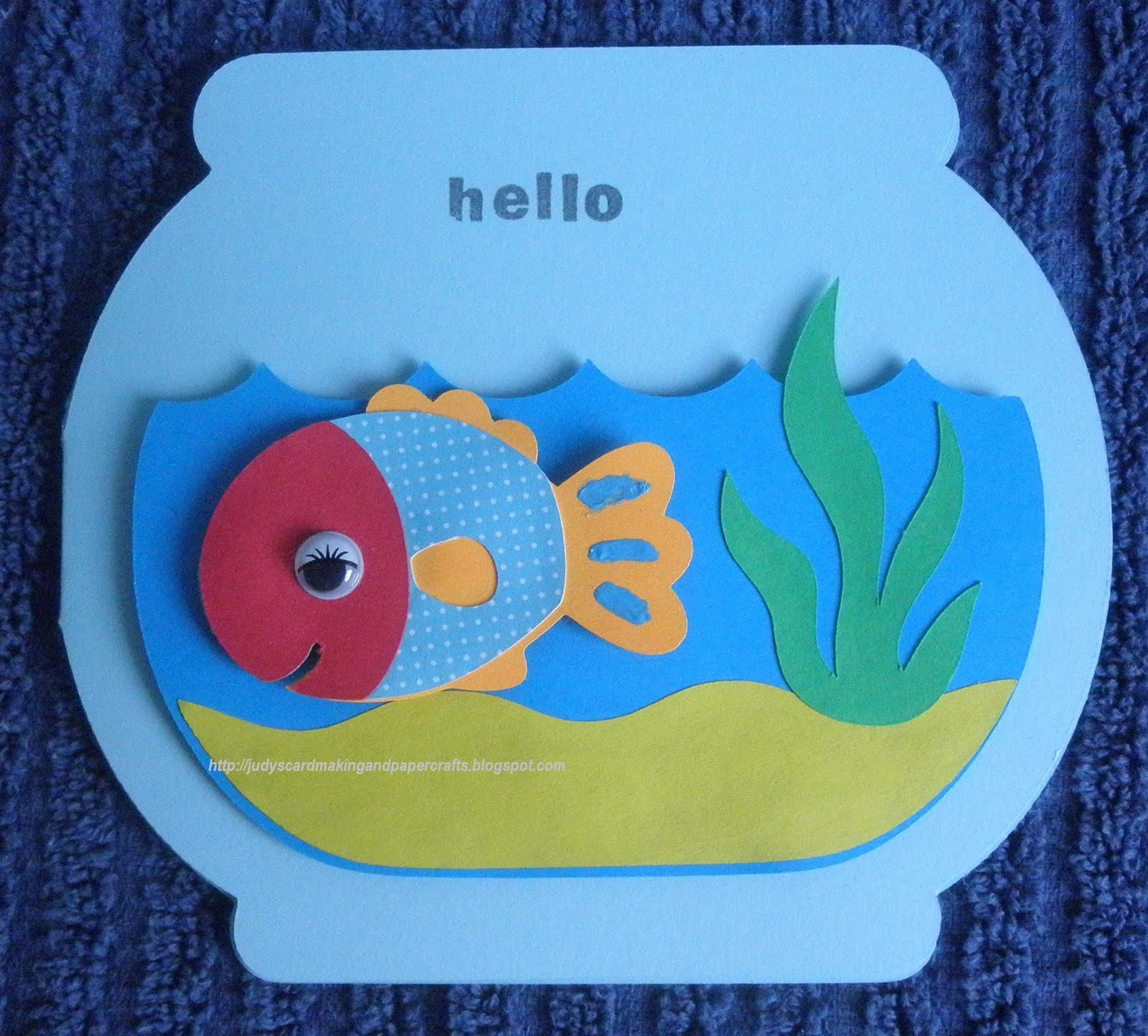 Judy 39 s handmade creations fish bowl shape card for How to make a fish bowl