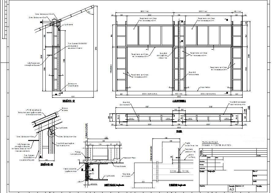 desenho e prepara u00e7 u00e3o de trabalho  fachada com estrutura