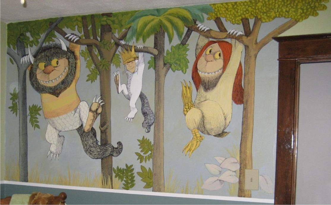 two pictures of the latest mural i finished of where the wild things. Black Bedroom Furniture Sets. Home Design Ideas