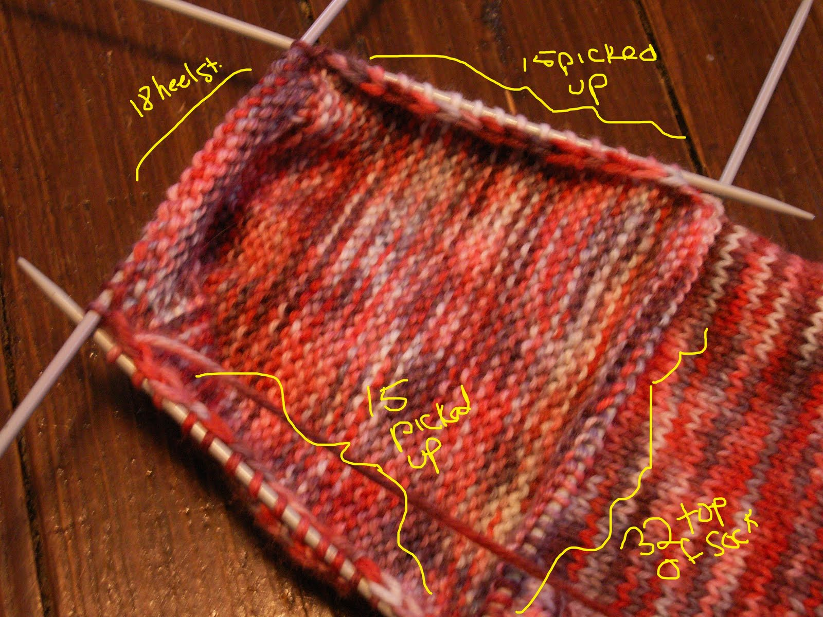 Mistress of Knitting: Knitting Top-Down Socks, Part 3 - Picking up stitches f...