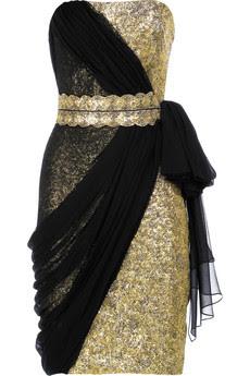 Strapless Black Embroidered White Satin Wedding Dress / Bridal