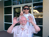 Bob clowning with Paul Krassner (in shades) at Prophets Con 2000