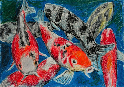 Daily artwork gallery lots of scales koi fish oil pastel for Koi fish scales