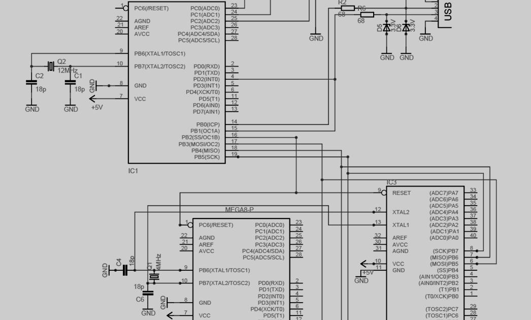 rangakaian downloader mikrokontroler avr menggunakan usb