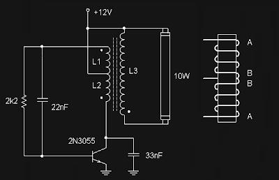 Skema Rangkaian Lapu Neon (TL) 12 Volt