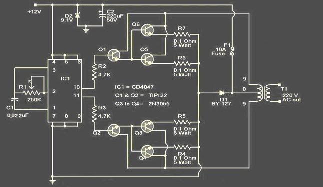 Rangkaian 100watt Inverter 2n3055