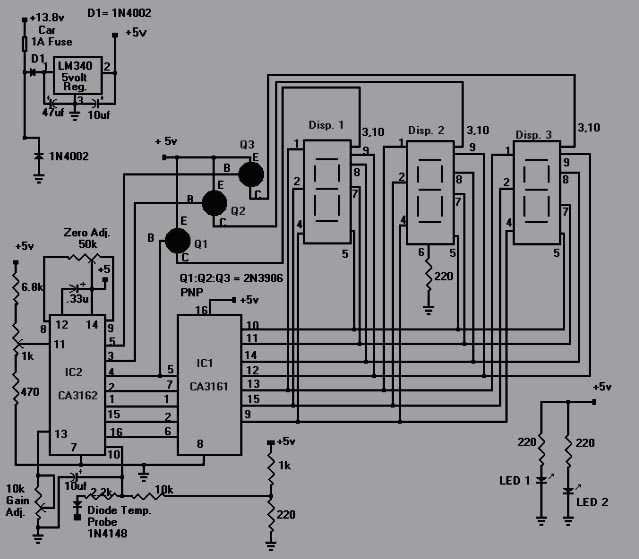 digital temperature controller circuit diagram