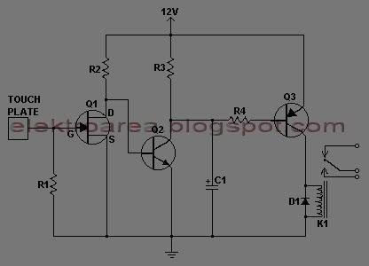 Rangkaian Touch Switch Menggunakan 3 Transistor  Koleksi Skema Rangkaian Artikel Elektronika