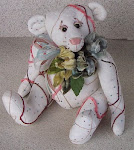Beaded Bear W/Vintage Linens, Florals