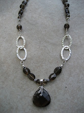 smoky quartz & hammered links necklace