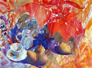 acuarela bodegón naturaleza muerta cuatro peras tazas poinsetia euphorbia pulcherrima flor de pascua watercolor still-life pears cups poinsetia