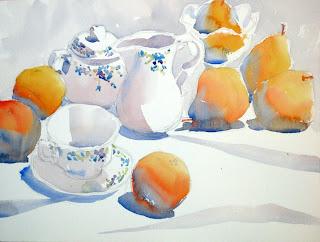 acuarela bodegón de naranjas y peras watercolor still-life oranges and pears Charles Reid