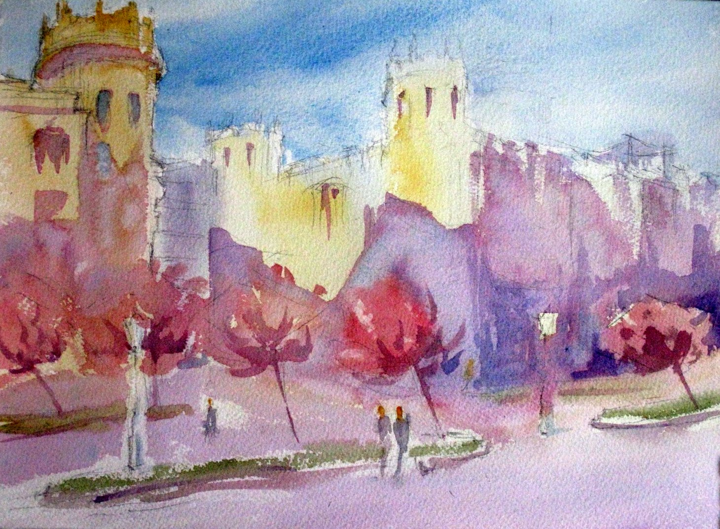 Pintar a la acuarela jardin salazar zub a bilbao for Jardines 6 bilbao