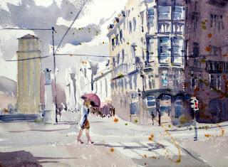 acuarela watercolor paisaje urbano sociedad bilbaina viento
