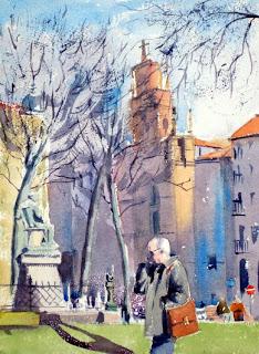 acuarela watercolor paisaje urbano bilbao jardines de albia