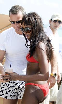 Naomi Campbell In Orange Bikini hot photos