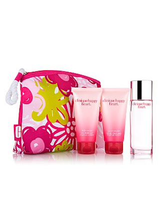 Clinique, Clinique Happy Heart, Clinique Happy Heart Fragrance, Clinique Happy Heart Perfume, Clinique Happy Hearts and Kisses Set, body wash, shower gel, fragrance, perfume, makeup bag, gift set, lotion, moisturizer