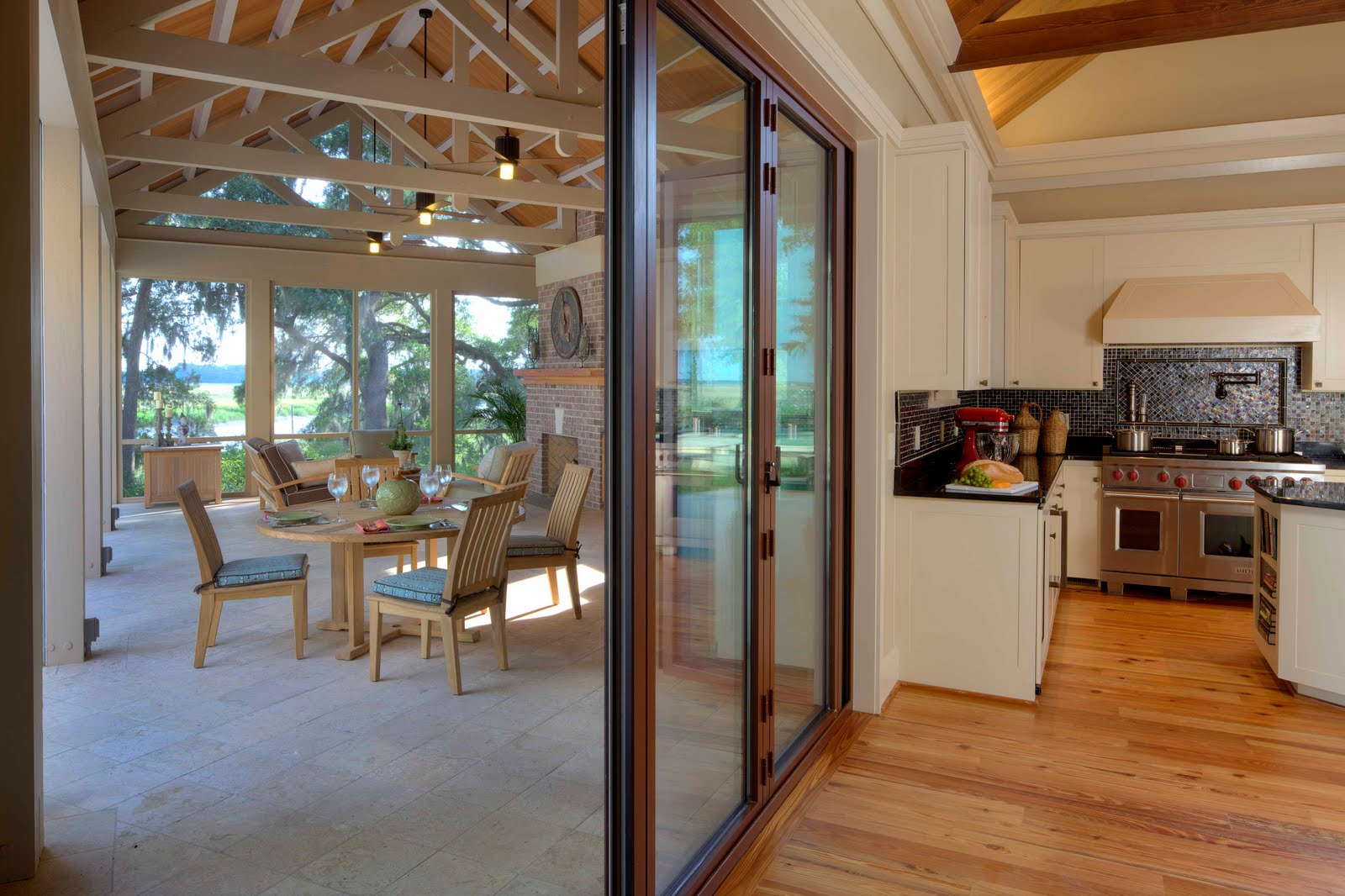 Lowcountry architect crosby residence dog trot for Exterior kitchen doors