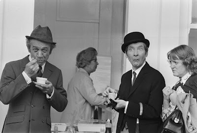 British+actors+Sid+James,+Kenneth+Williams+and+Patsy+Rowlandshaving+a+tea+break+during+the+filming+of+Carry+On+At+Your+Convenience+1971