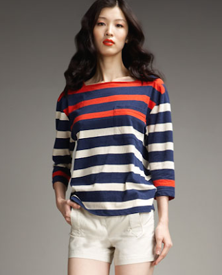 red blue and white stripes shirt