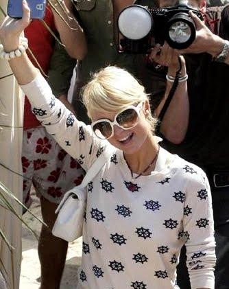 Paris Hilton in nautical shirt