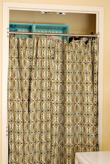 The Closet Door Panels Are 86 Long With Buttonholes For Shower Curtain Rings 55 Per Panel And Hers Lined So That They Can Be Used As Regular