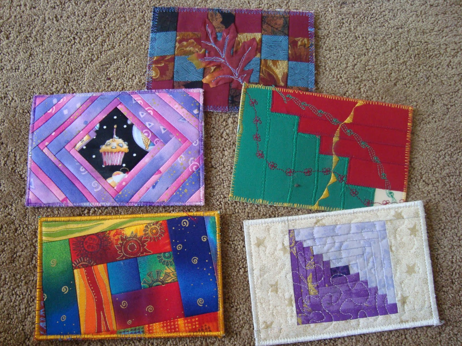 fabric postcards - tutorial on using your ufo quilt blocks
