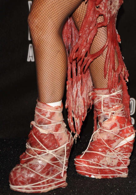 lady gaga meat dress real meat. lady gaga meat dress pictures.