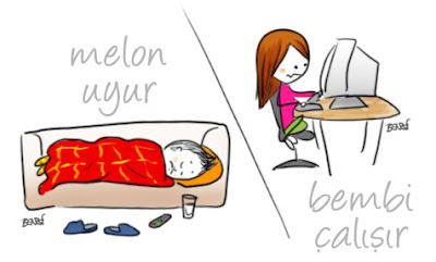 Bembi çalışır, Melon uyur