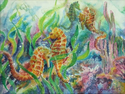 Younglao silk painting Watery World III