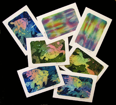 hand painted silk notecards