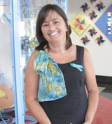 musician wearing Deborah Younglao silk scarf